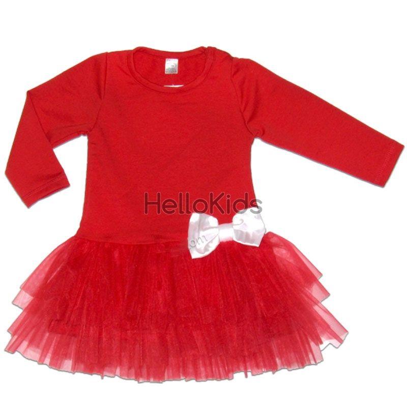 a2fe71bd90f Червена детска рокля с панделка