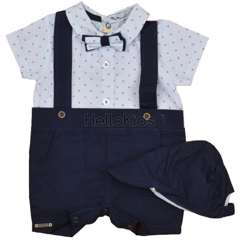 025f3468019 Спортно елегантен бебешки гащеризон с папионка и шапка в бяло и синьо