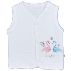 66bd84b753d Памучен бебешки елек Фламинго